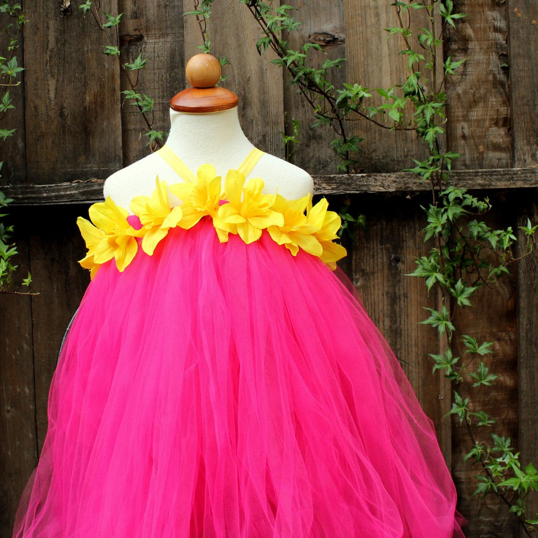 Fuchsia Yellow Tutu Dress Daffodil Dress By Bloomsnbugs On Zibbet