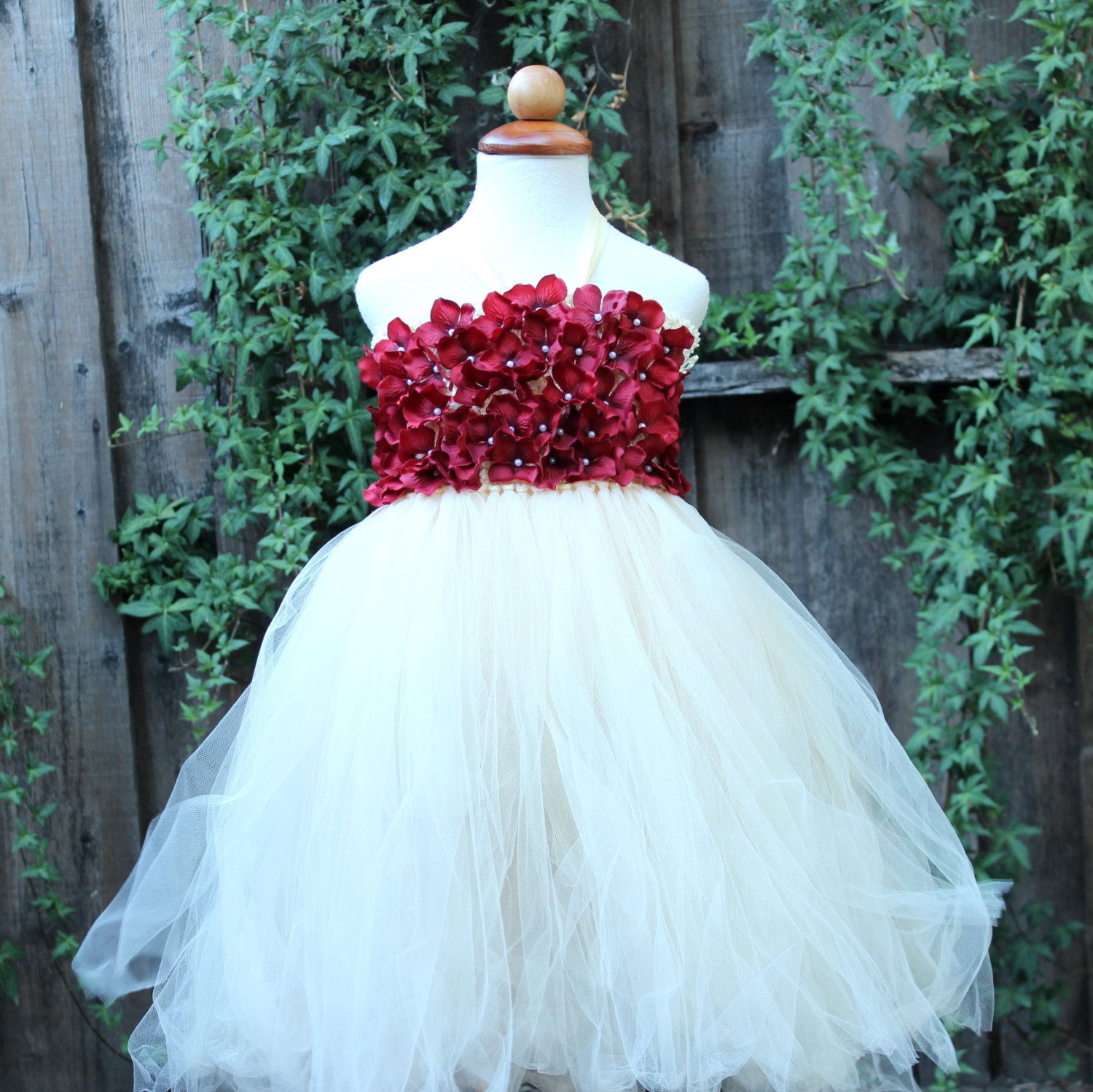 Ivory Maroon Flower Girl Dress Ivory Wedding Bloomsnbugs