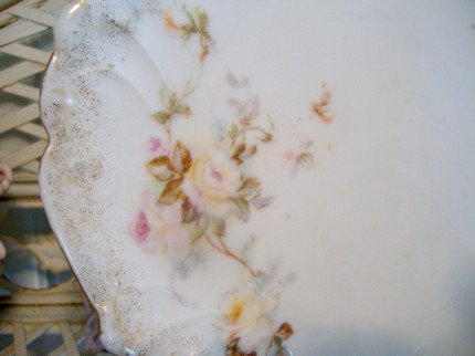 Antique Display Plate Pink Roses FREE SHIPPING