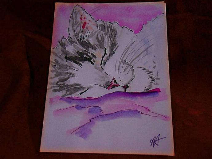 1 handpainted blank greeting card Sleeping Kitty