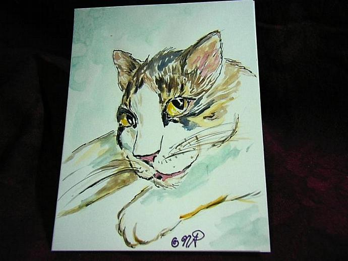 1 handpainted blank greeting card playful Kitty