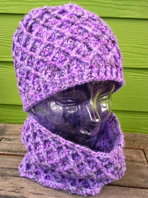 Sparkly Trellis Hat & Cowl - choose a color