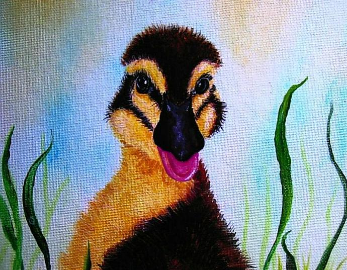 """Everything is Just Ducky!"" Painting of a duckling"