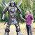 2.20 Meter tall Metal art sculpture Samurai - unique metal art decor - made to