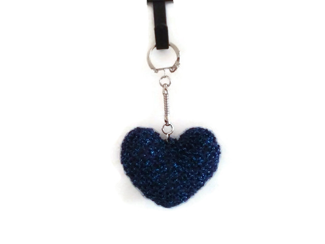 Key Chain with Knit Blue Heart, Heart Key Chain, Heart Key Ring, Valentines