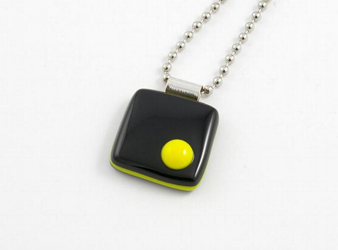 Black and Yellow Fused Glass Cube Pendant