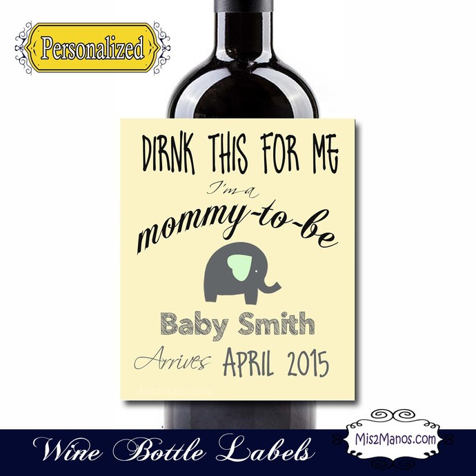 Pregnancy Announcement Wine Labels - Custom (Personalized) Chalkboard Set of 4
