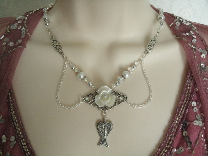 Victorian Rose Necklace, victorian jewelry art nouveau jewelry art deco jewelry