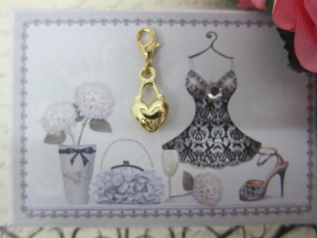 Royal Heart Purse Charm - Gold