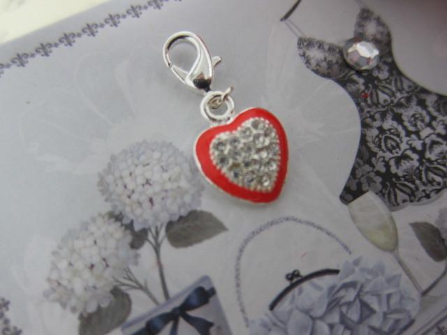 Royal Diamante Heart Charm - Silver/Red