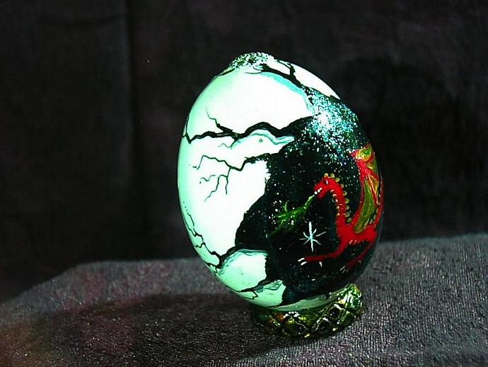 Hand painted egg- 'Other World Egg- Ruby Dragon' on a permanent stand