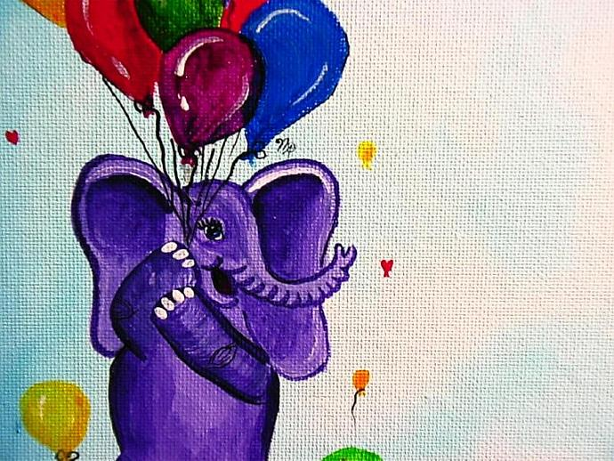 Personalize me! Baby Birth Announcement Canvas- elephant