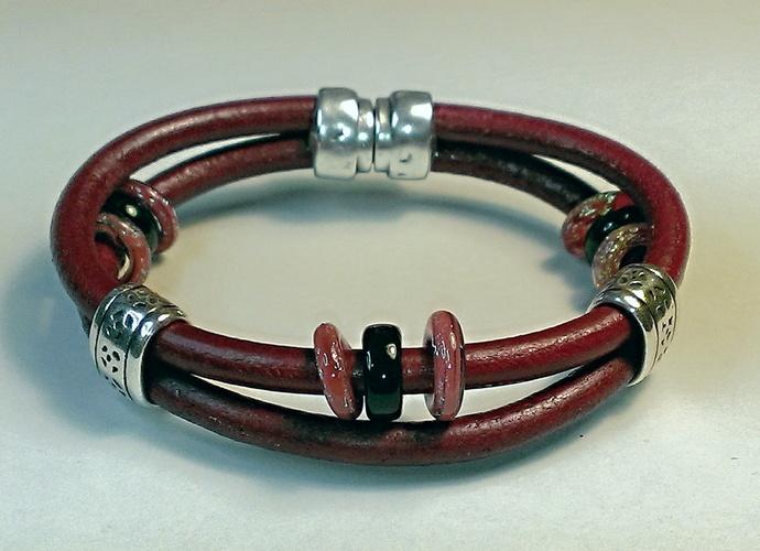 Euro Italian Leather Bracelet, Item #1462