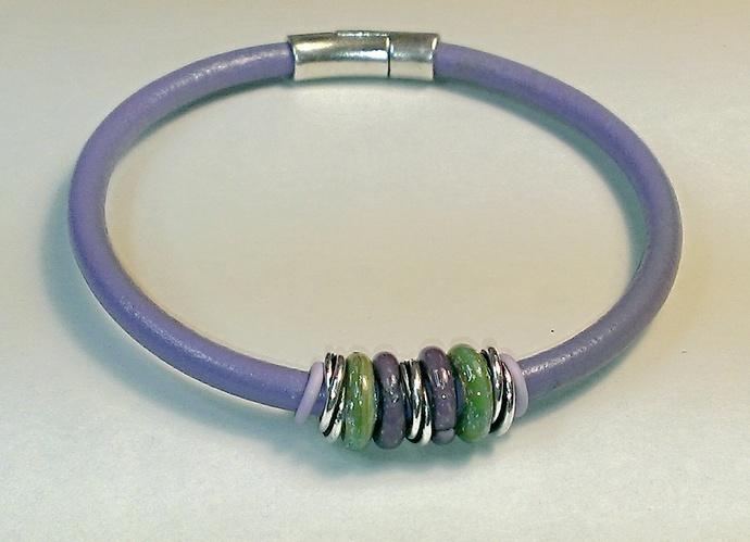 Euro Italian Leather Ankle Bracelet, Item #1463
