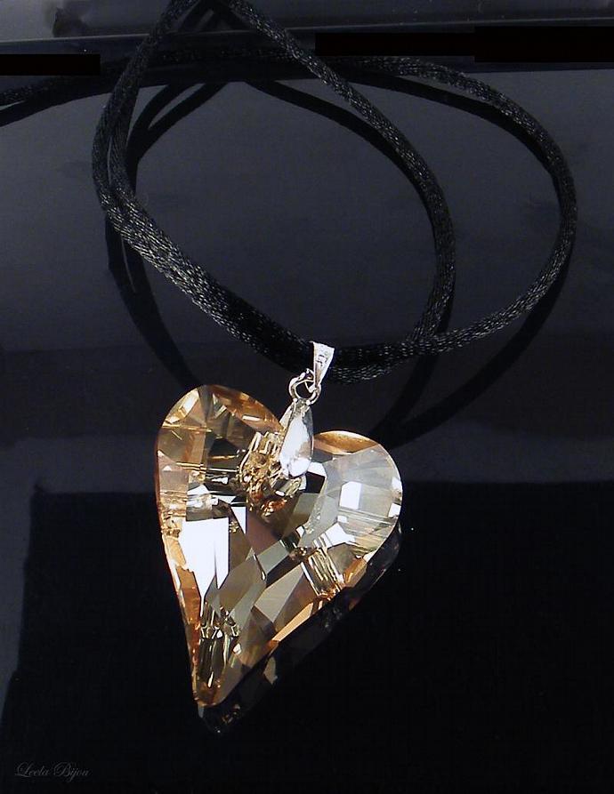 Caramel Heart Black Lace - Swarovski Crystal Silk