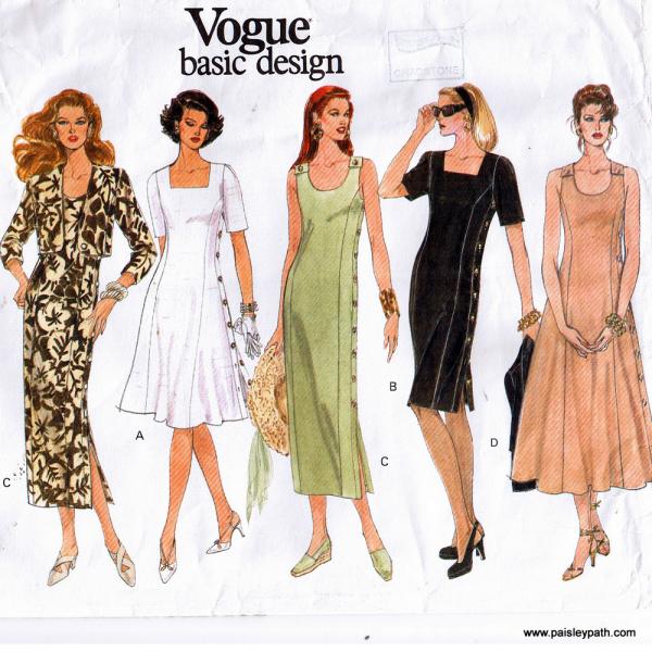 Vogue Sewing Pattern Dress Jacket Plus Sizes Paisleypath