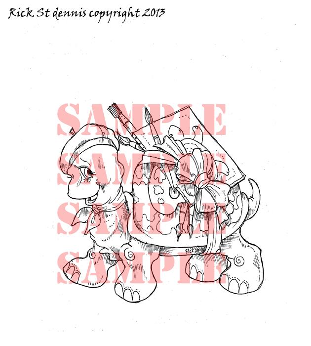 Artemis The Sunday Painter TURTLE digi stamp