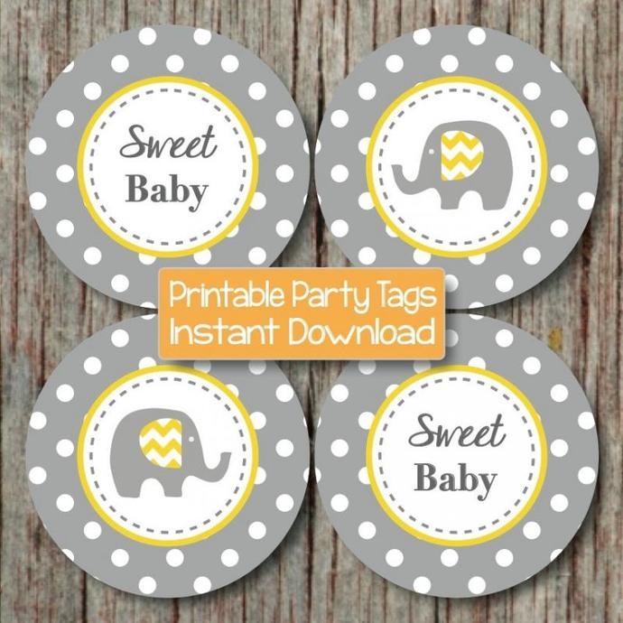 Baby Shower Cupcake Toppers Yellow Grey Elephant Printable Party Favor Tags
