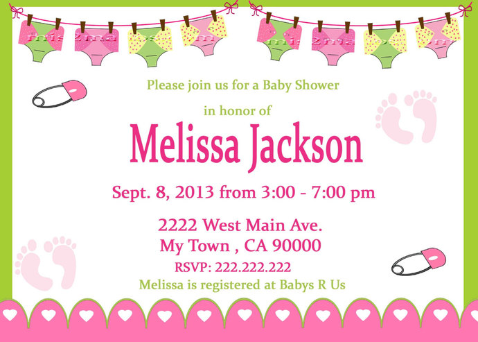 Diaper Baby Shower Clothes Line  Invitation 5x7 or 4x6 Printable Invitation Pink