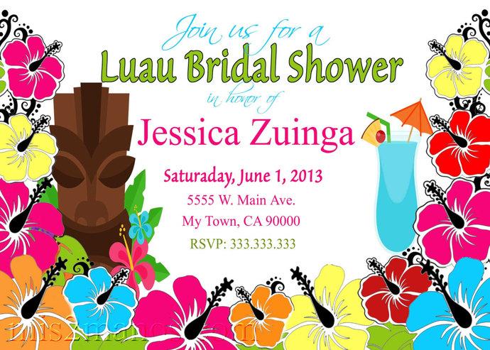 Bridal Shower Luau Hawaiian Party Invitation Printable Bridal Shower, Birthday,