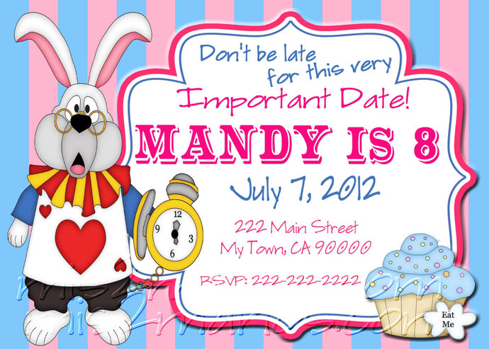 Tea Party Invitations  DIY Custom Printable Birthday Alice in Wonderland