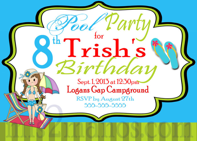 Pool Party Invitations  DIY Custom Printable Birthday Party Print at Home