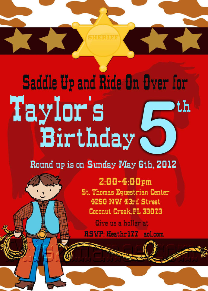 Cowboy Birthday Party Invite- Printable Party Invitation PRINTABLE