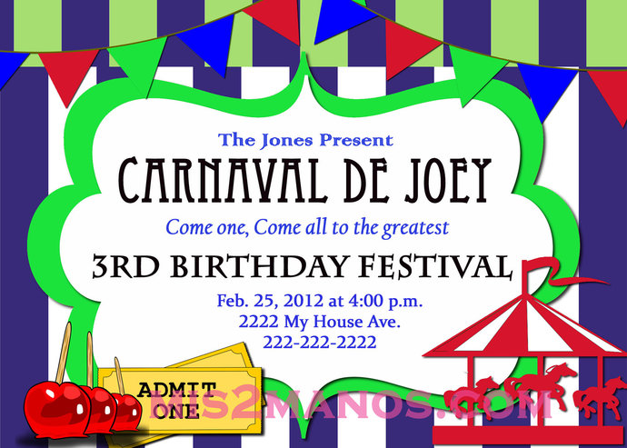 Carnival Birthday Party Invitation Diy Printable By Mis2Manos On