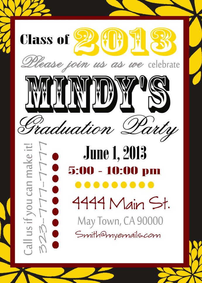 Graduation Invitation diy Printable Party Invites Personalized Custom Orders
