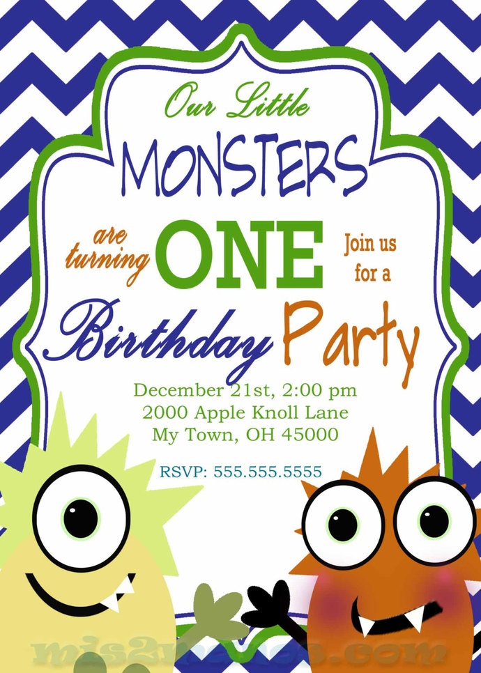 monster birthday party twin invitation little by mis2manos on zibbet