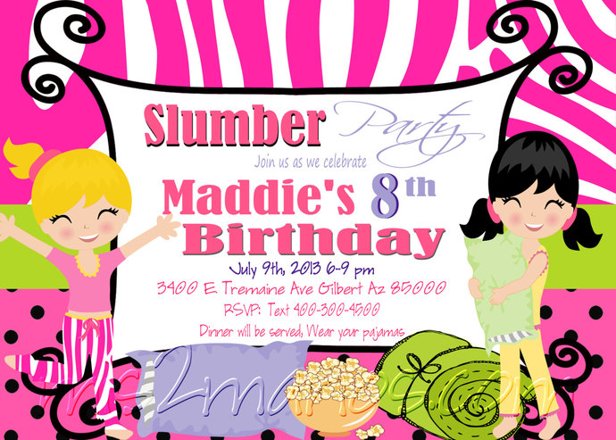 Slumber Party Invitation Sleepover Invite By Mis2manos On Zibbet