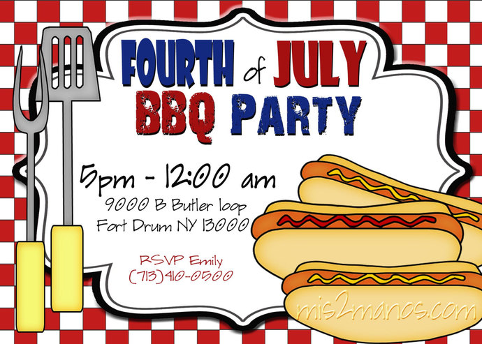 BBQ Invitations Fourth of July Adult Birthday Hot Dog Backyard Party Printable