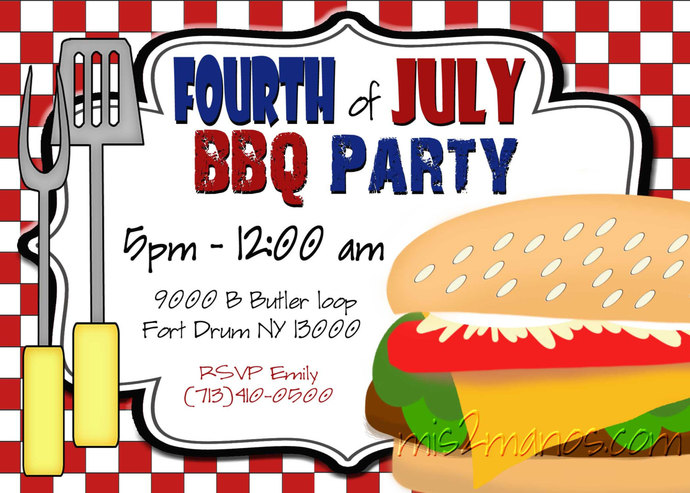 BBQ Invitations Fourth Of July Adult Birthday By Mis2Manos On Zibbet