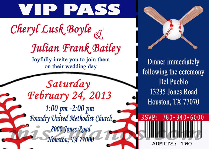 Baseball Theme Wedding Party Printable Ticket Invitations, DIY Wedding Ticket