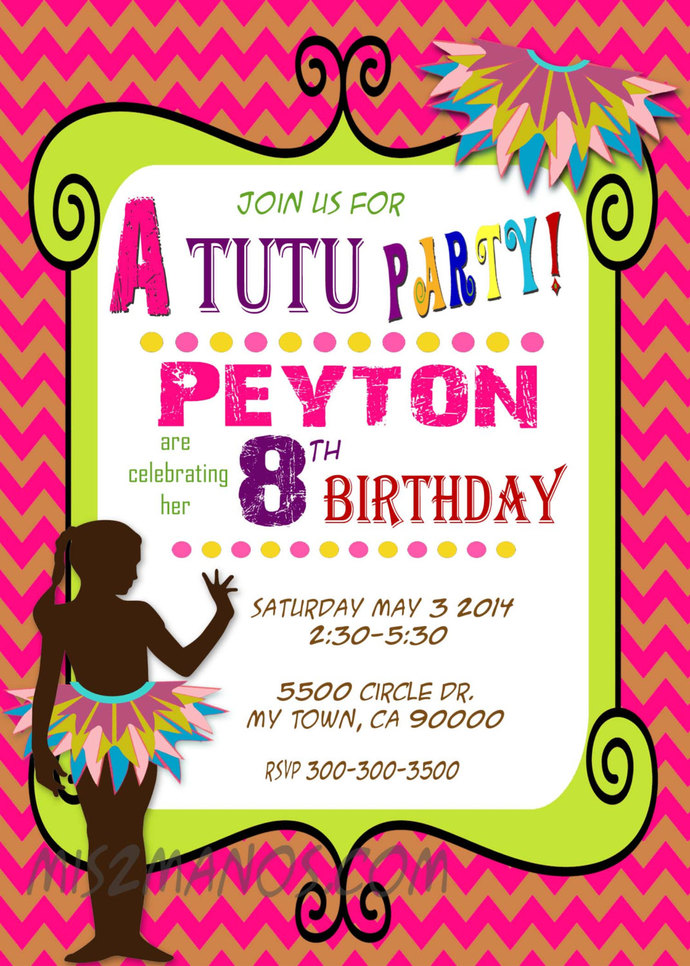 Tutu Birthday Invitations Shower Party PRINTABLE INVITATIONS  Print at home