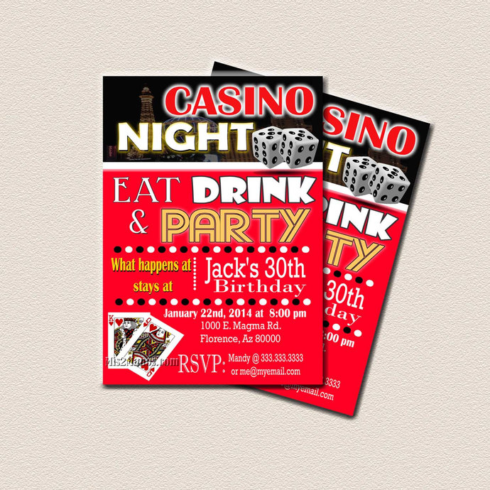 Casino Theme Party, Surprise Birthday Party, Printable 30th 40th 50th 60th