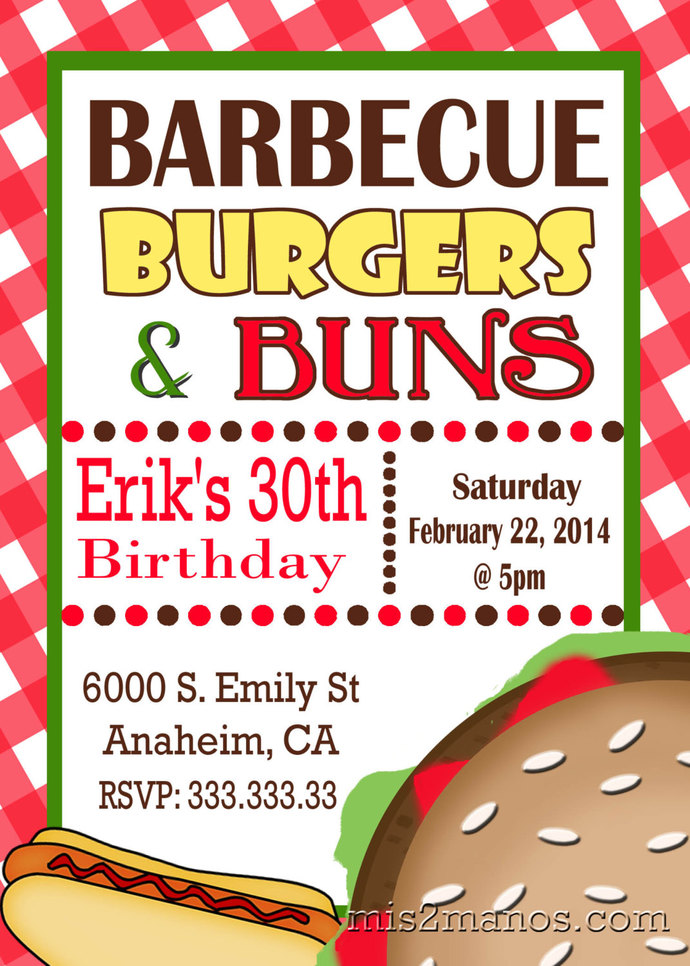 Bbq invitations birthday hamburger backyard by mis2manos on zibbet bbq invitations birthday hamburger backyard party printable summer party filmwisefo