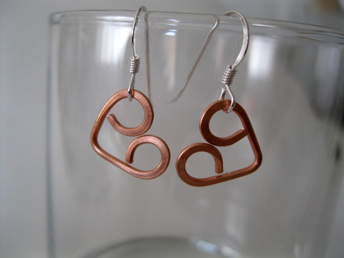 Hand formed copper heart earrings with silver ear hooks, copper earrings, copper
