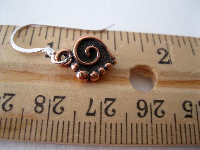 Copper spiral heart charm earrings. copper heart earrings, tiny copper heart