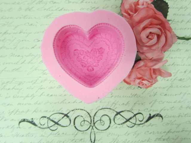 3D Rose Heart Cake Silicone Mold/Mould  - Pink stl