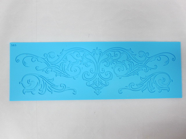 XL Ornate Flourishes Silicone Mold/Mould  - Blue stl