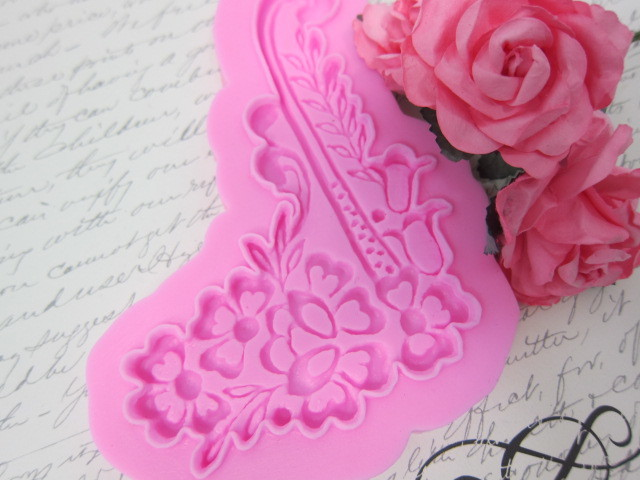 French Country Floral Flower Corner Silicone mold Soft Silicone Mold Fondant Mat