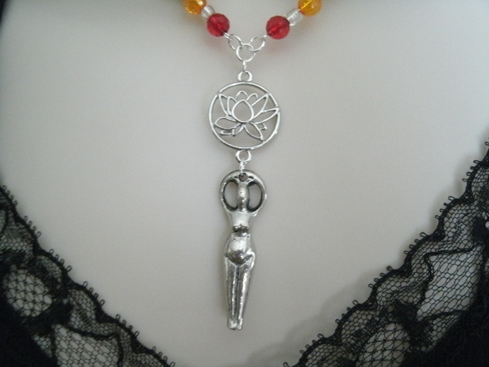 Chakra Goddess Necklace, wiccan jewelry pagan jewelry wicca jewlery goddess