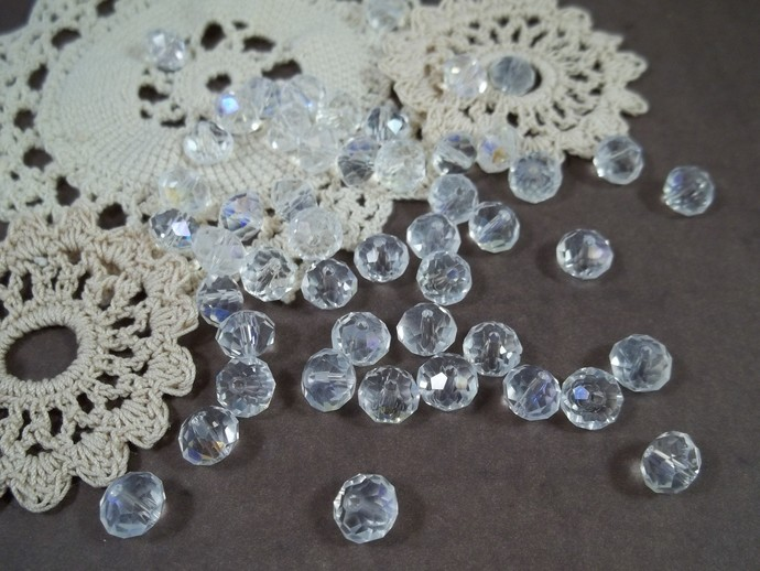6x8mm Faceted Glass Abacus Beads - Clear AB
