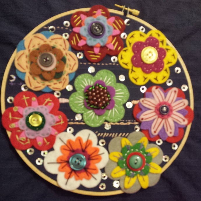Floral Felt embroidered flowered and beaded sequin hoop handmade wall hanging