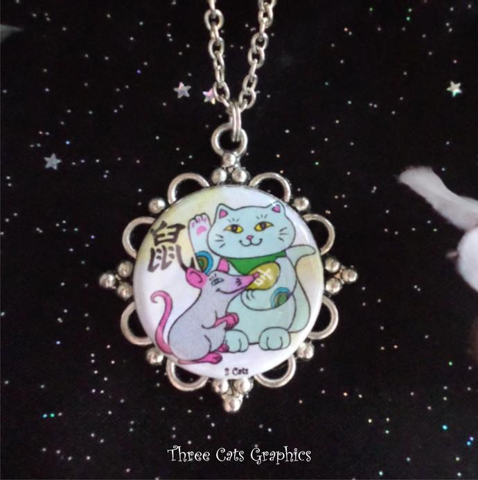 Maneki Neko Year of the Rat Pendant on Silver Plated Chain