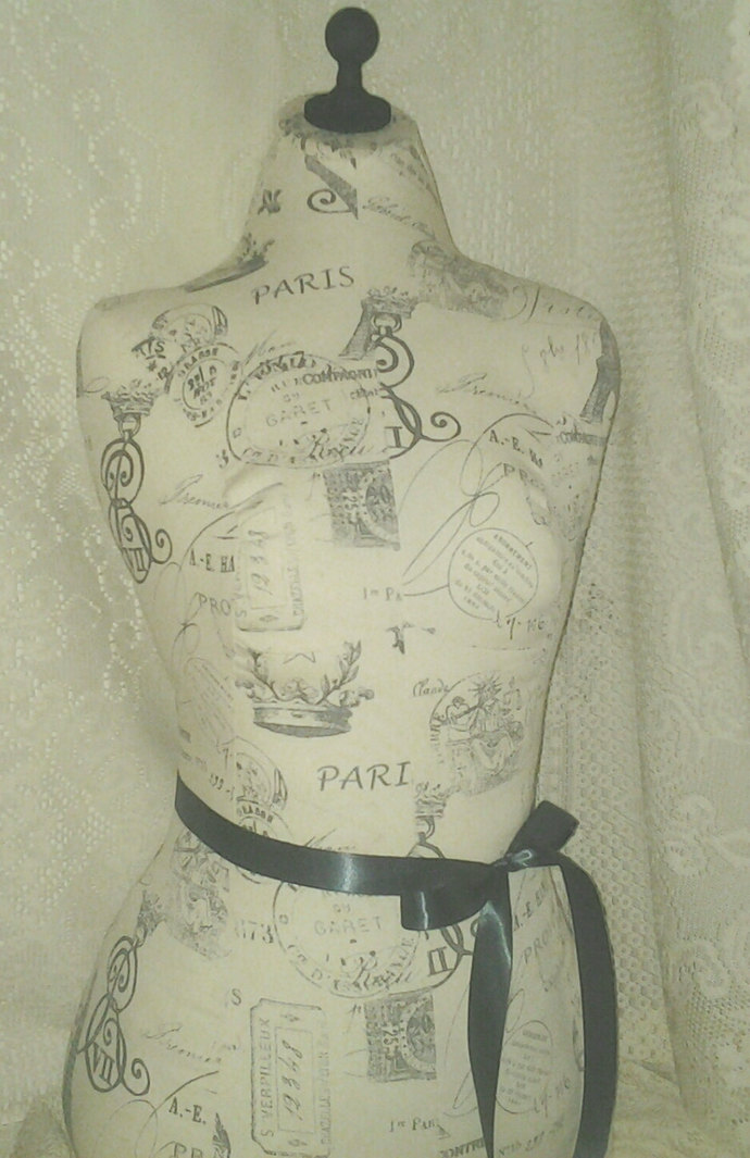 Paris Eiffel Tower Dress Form jewelry display with wood stand. Mannequin torso