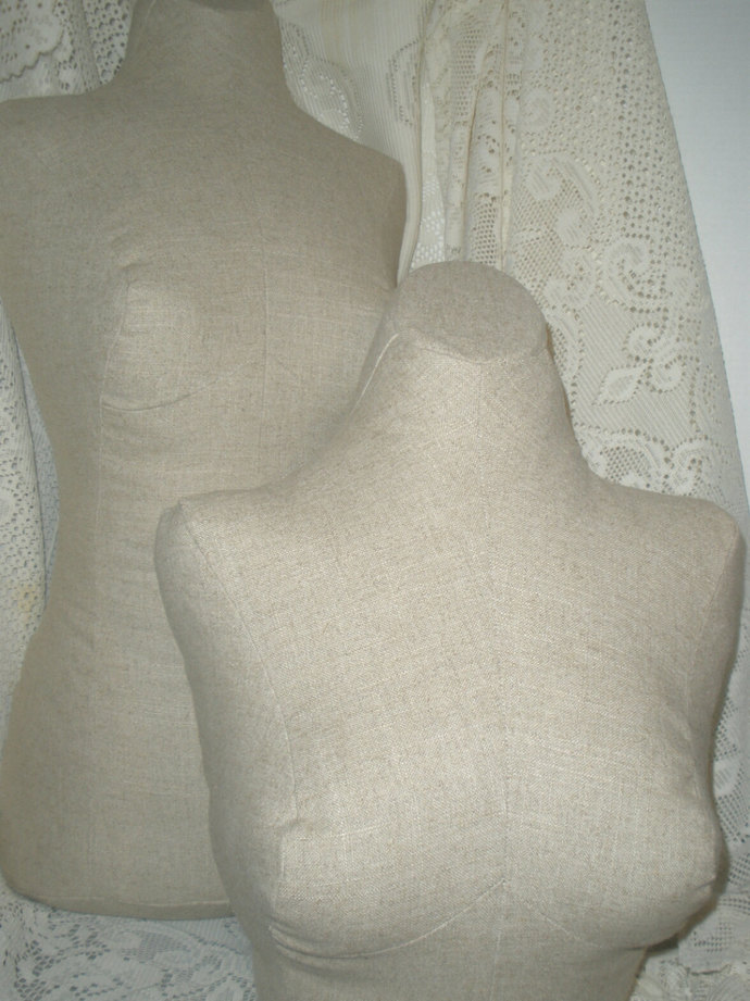 Paris Sand Linen Dress Form and bust form combo jewelry displays. Mannequin