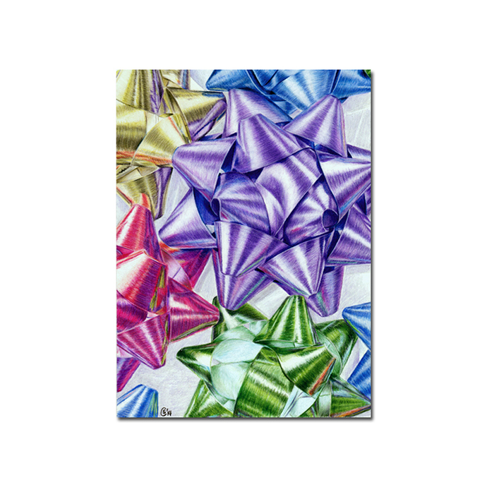 BOWS festive gift ribbons holidays colored pencils painting Sandrine Curtiss Art