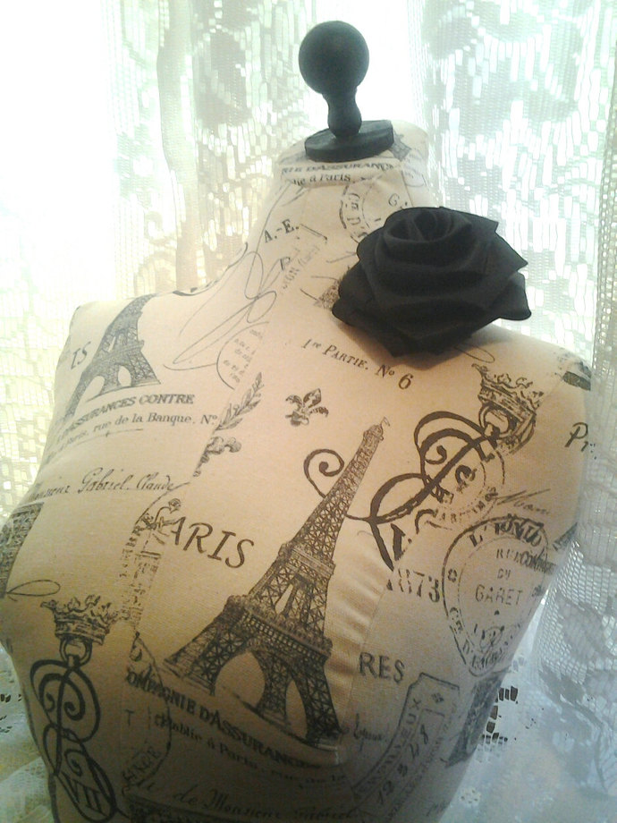 Paris linen Eiffel Tower Dress form bust to the waist, jewelry display, sewing